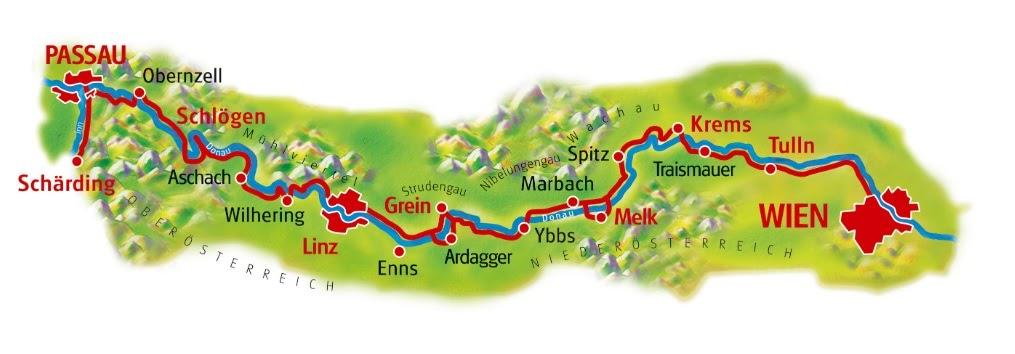 מפת מסלול הרכיבה לאורך הדנובה
